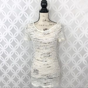 Pleione Ivory Lace Scoop Neck Tee NWT